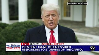 President Trump releases video responding to storming of the Capitol