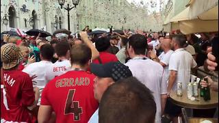 'Harry Maguire, your defence is terrified!' - England fans take over the streets of Moscow - Video