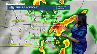 Thunderstorms possible overnight, mostly cloudy Tuesday morning