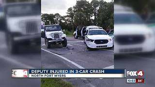Deputy Injured in 3-Car Crash - Video