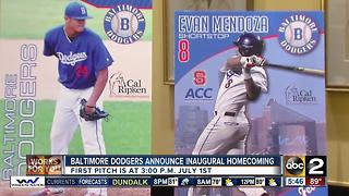 Baltimore Dodgers to play first annual homecoming double header July 1 - Video