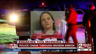 Woman in custody after police chase in Broken Arrow - Video