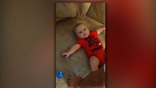 Baby realizes that dad is the tickle monster
