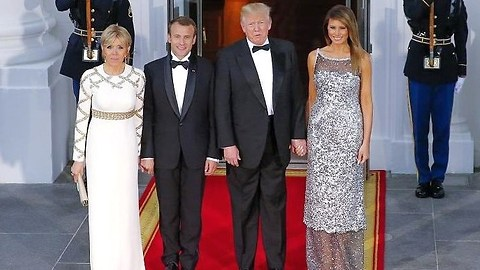 Gorgeous Melania Trump wows at Trump state dinner with Macron.