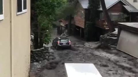Urban Prius bobsledding in Burbank, California mud slide