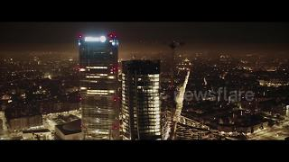 Drone footage captures stunning Milan skyline at night - Video