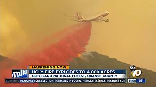 Holy Fire explodes to 4,000 acres - Video
