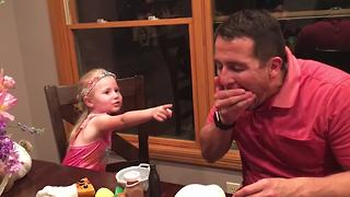 Dad Pulls A Face Food Prank On His Daughter - Video