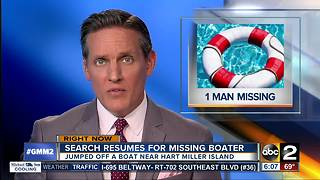 Authorities search for man who dove off boat in Maryland - Video