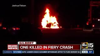 One killed in fiery Gilbert crash involving train - Video