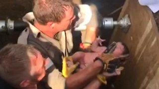 Baby is Rescued From Storm Drain in South Africa