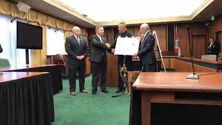 K9 Casper receives purple heart from The U.S. Marshals - Video