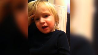 Cute Toddler Misses His Eyebrows - Video