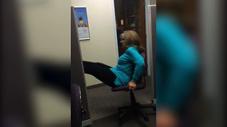 Office Game Goes Wrong After Lady Falls Off Rolling Chair - Video