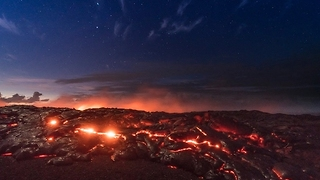 360 Look at Lava Pouring into the Ocean in Hawaii - Video