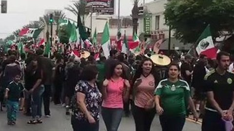 Mexico Fans Celebrate World Cup Victory in East Los Angeles Streets