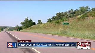 Green Country man walks 8 miles to work every day - Video