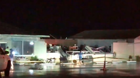 Strong Winds Collapse Hair Salon Roof in Gulf Breeze, Florida
