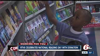 RTV6 celebrates National Reading Day by giving books to children at Indy school - Video