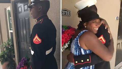 Marine Shocks Unsuspecting Mom With Surprise Visit After Over A Year Away From Home