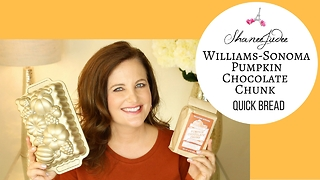 How to make Williams-Sonoma pumpkin chocolate chunk quick bread - fall recipe | ShaneeJudee - Video