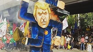 Trump Effigy Burned in Manila Protest - Video