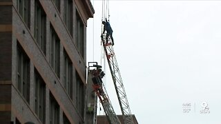 Workers rescued after scaffolding collapse downtown