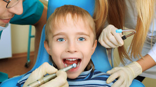 4 year old's first teeth cleaning at dentist. - Video