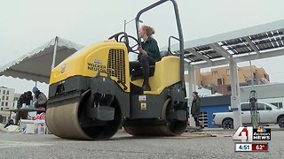 Art students use steamrollers to give printmaking a modern twist