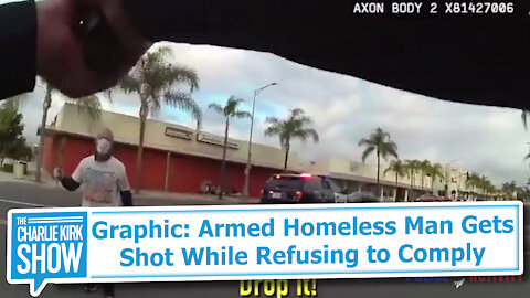Graphic: Armed Homeless Man Gets Shot While Refusing to Comply