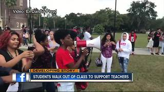 Students across Hillsborough County stage walk outs in support of teachers awaiting pay raises - Video