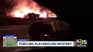 Valley community wants answers after playground torched - Video
