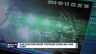 Gas station roof topples over in Southfield
