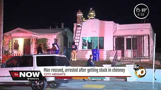 Man rescued from chimney - Video