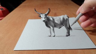 How to draw 3D grey cattle - Video