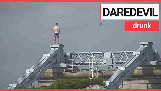 Drunk man scales 150ft bridge to escape police after refused drink in a pub