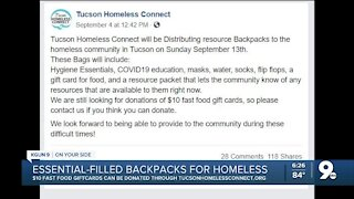 Local nonprofit hands out free backpacks to homeless community in Tucson