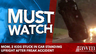 Mom, 2 Kids Stuck in Car Standing Upright After Freak Accident - Video