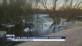 Ice jams causing flooding concerns in Ozaukee County - Video