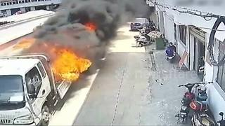 Brave man drives burning lorry away from buildings