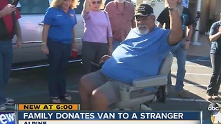 Family donates van to a stranger - Video
