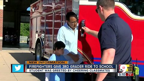 Firefighters give third-grader ride to school