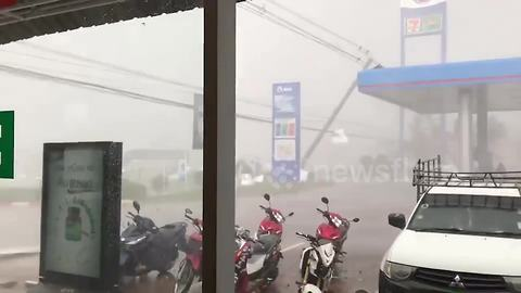 Tropical storm blows down power lines in Thailand