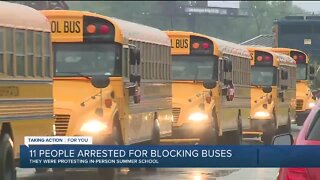 11 protesters arrested for blocking Detroit school buses