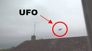 Slotted UFO flies over house in UK!