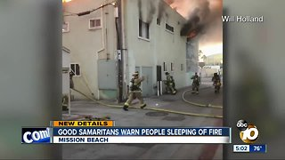 Good Samaritans warns people sleeping of Mission Beach fire