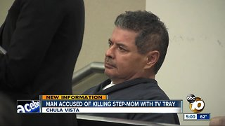 Man accused of killing step-mom with TV tray