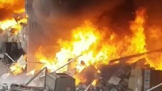 Smoke Billows From Warehouse Fire in Manchester