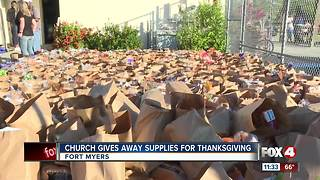 Church Gives Away Supples for Thanksgiving - Video