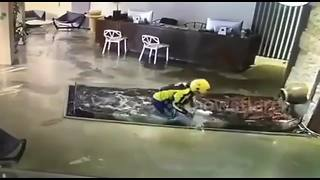 Deliveryman falls into fish pond in hotel - Video